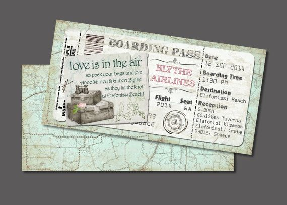 Suitcase Boarding Pass Invitation for Wedding, Save the Date