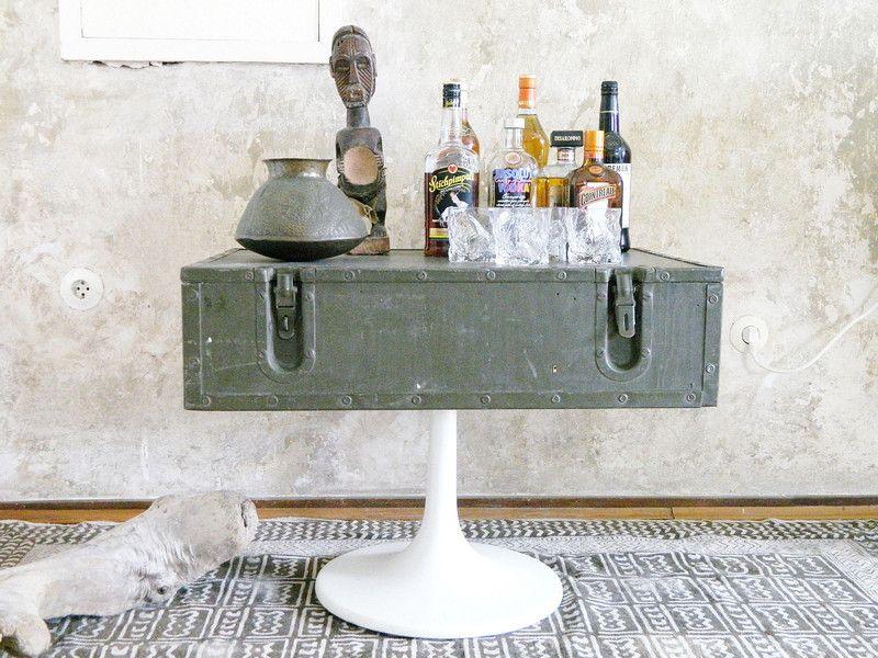 Grosser Vintage Koffer Tisch Beistelltisch Bar Von Wildandvintage
