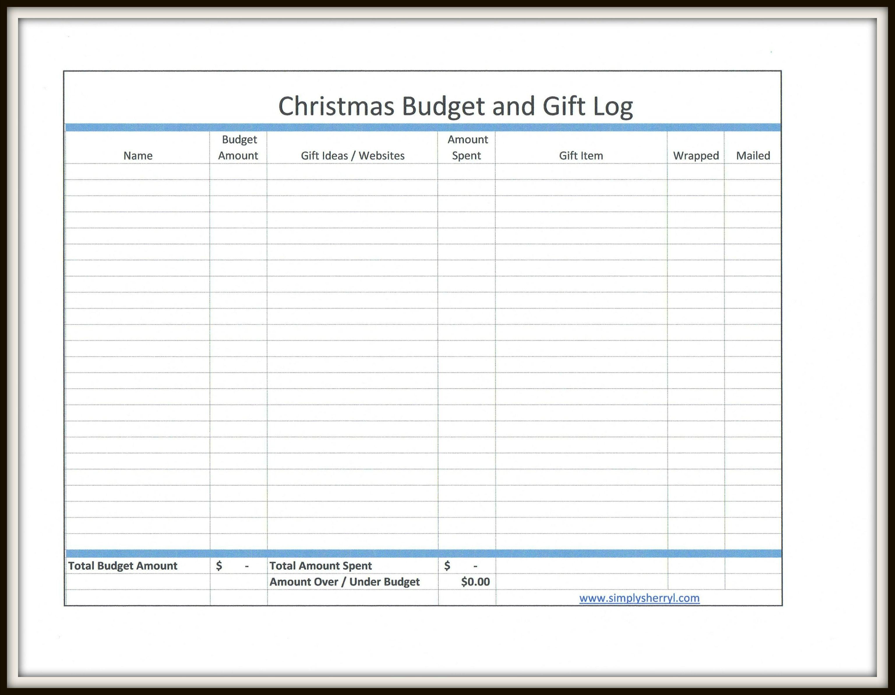 Free Christmas Budget And T Log