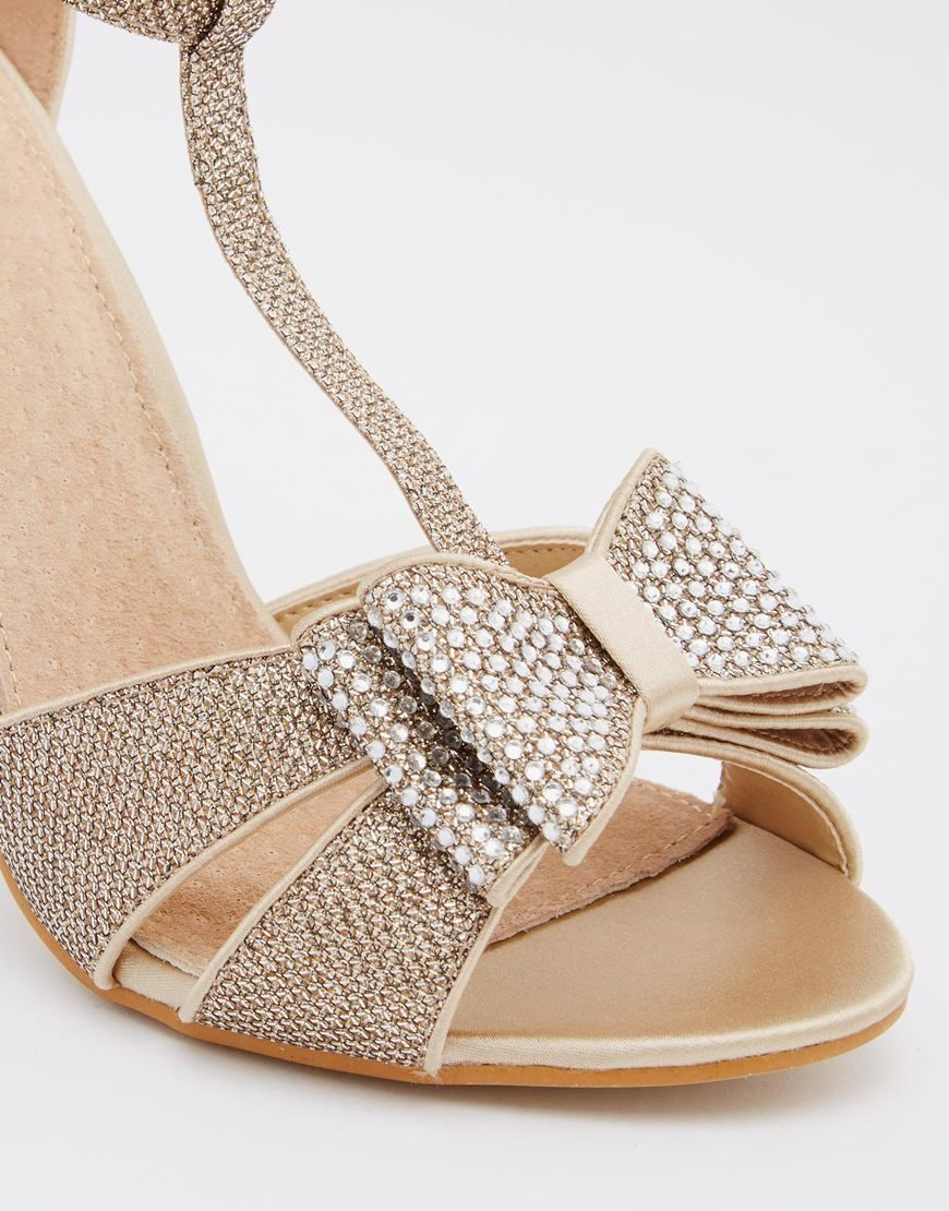 86f94fc040dc Image 4 of True Decadence Gold Glitter Bow Detail Heeled Sandals ...