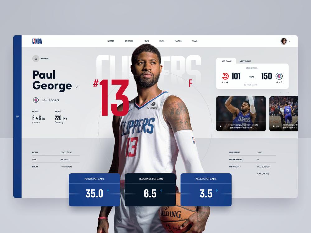 Nba Player Profile In 2020 Nba Players Sports Design Nba