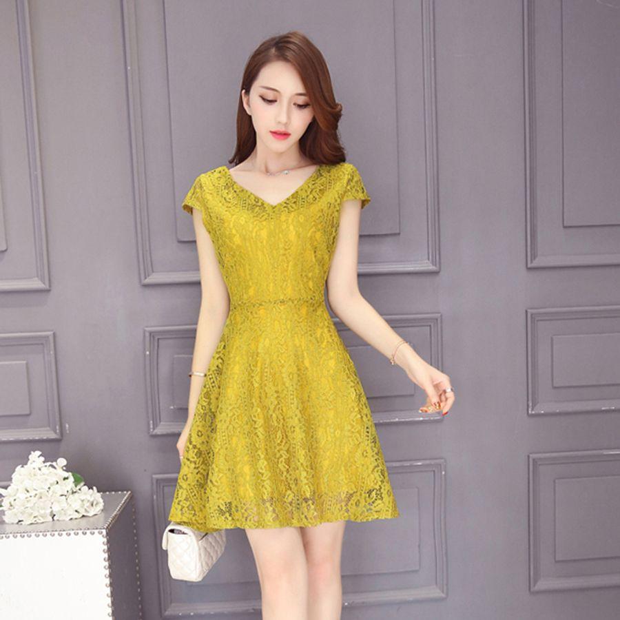 Yellow dress for women  Lace Elegant Bandage Dress Women Summer Yellow Sexy Dress Office
