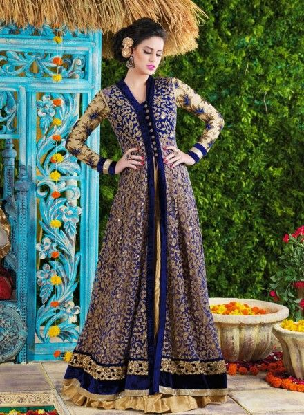 Black & Beige beautiful party gown for women in net | Indian and ...