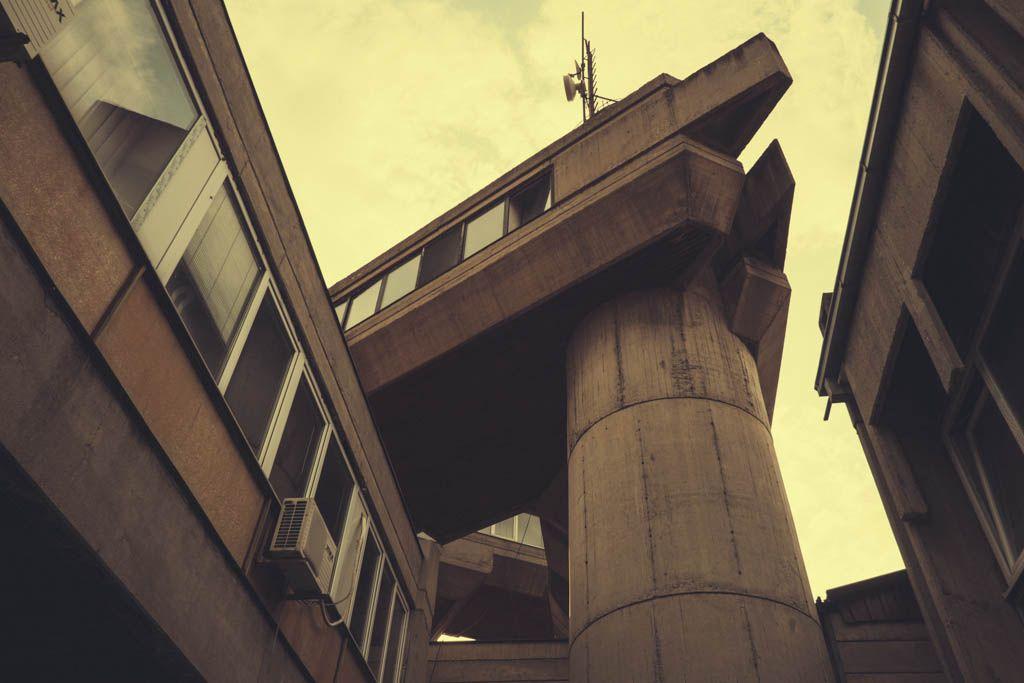 The brutal home of the Skopje State Hydrometeorological Institute. Architect – Krsto Todorovski, 1975.