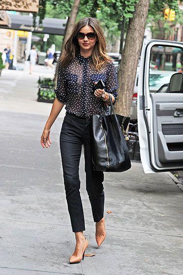 Miranda Kerr in Equipment Blouse and Lanvin Heels - Best Miranda Kerr Street Style