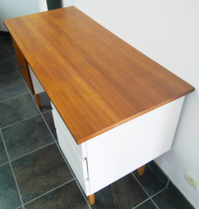 Restauration bureau vintage, style scandinave, peinture meuble - peinture sur meuble bois