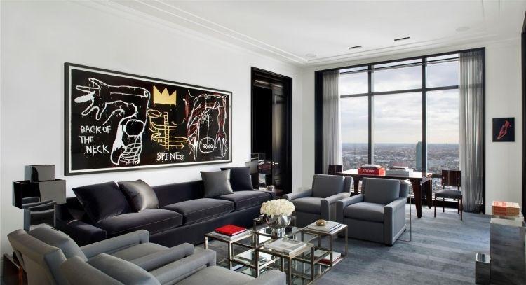 Moderne Wohnzimmer Wandgestaltung In Schwarz Und Weiß #moderne #schwarz  #wandgestaltung #wohnzimmer