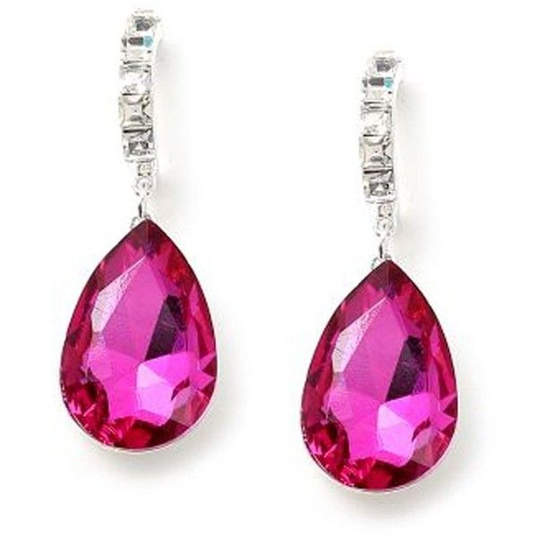Large Fuschia Crystal Half Hoop Earring Hot Pink Prom Jewelry 20 Liked
