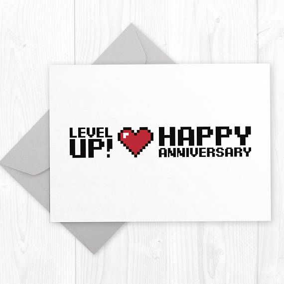 picture about Happy Anniversary Card Printable named Stage UP - Wedding day Anniversary geeky printable card - amusing