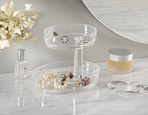 Fashion Jewelry Organizer with Swivel Tray for Rings Earrings