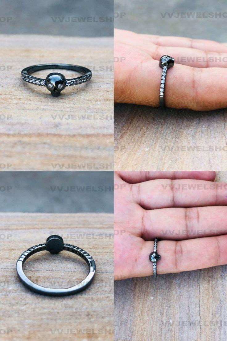 Gothic Skull Full Black Ring, Unique Skull Ring, Women's Skull Love Ring, White Diamond Ring, Nerdy Skull Geeky Ring, Biker Girl Ring
