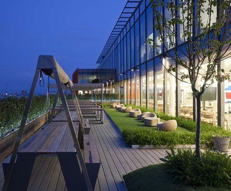 Beautiful Work Spaces Roof Garden Design Google Office Roof Garden