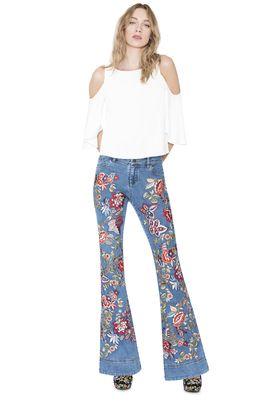 RYLEY EMBROIDERED LOW RISE BELL JEAN by Alice + Olivia