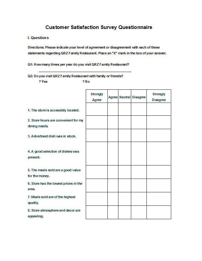 questionaire templates