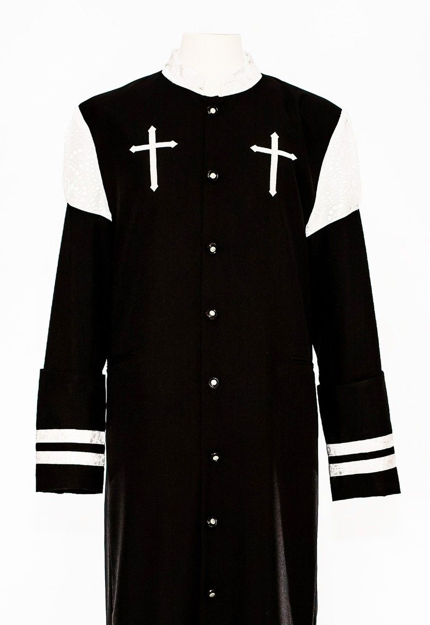 86a21854a5 001. CLOSEOUT Hoshea Clergy Robe For Men In Black   White in 2019 ...