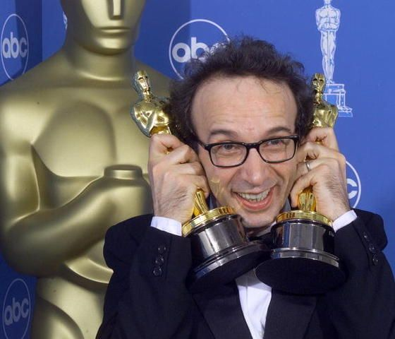 """71st Academy Awards® (1999) ~ Double Oscar® winner Roberto Benigni won the Best Actor category and also for Directing """"La vita è bella"""" (1998)"""