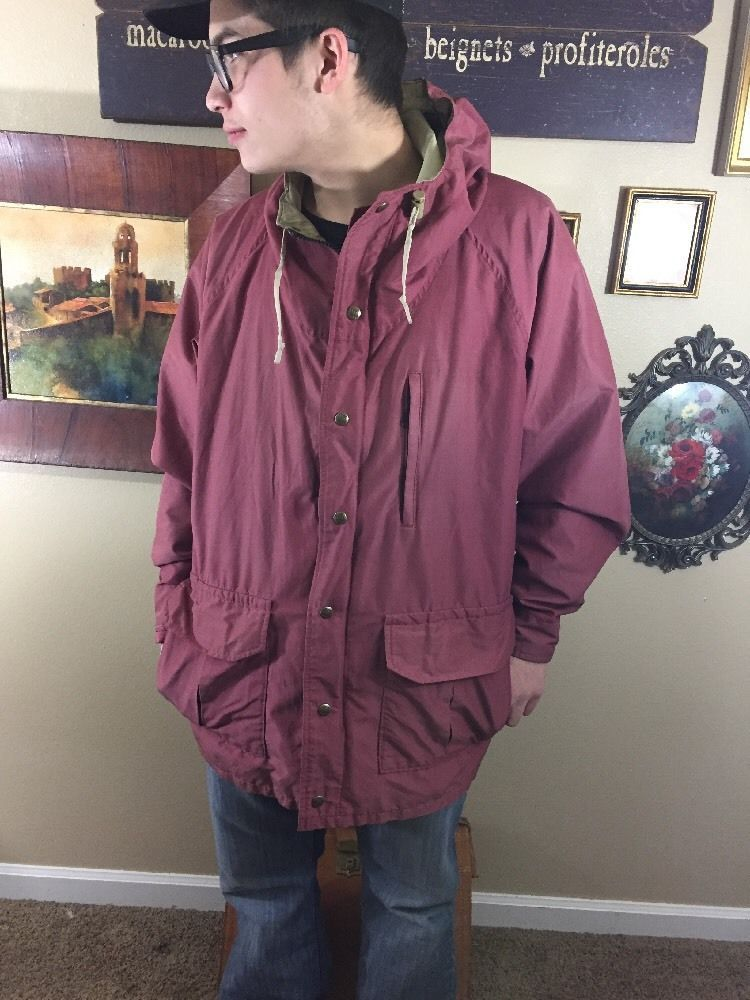 Vintage Men's Columbia Sportswear Size L-XL Maroon Zip Hood Light Rain Jacket  | eBay