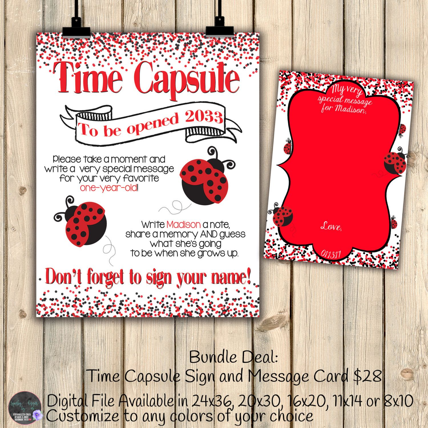 Red 1 Next To Time Capsule Ladybug Time Capsule Chalkboard Sign With Message Card
