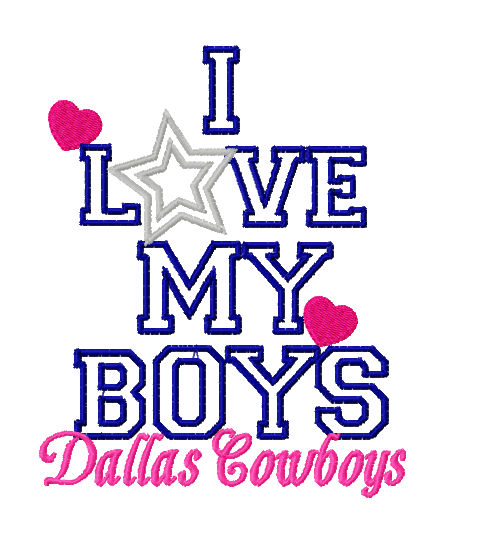Download I Love My Boys Dallas Cowboys Football Embroidery Design ...