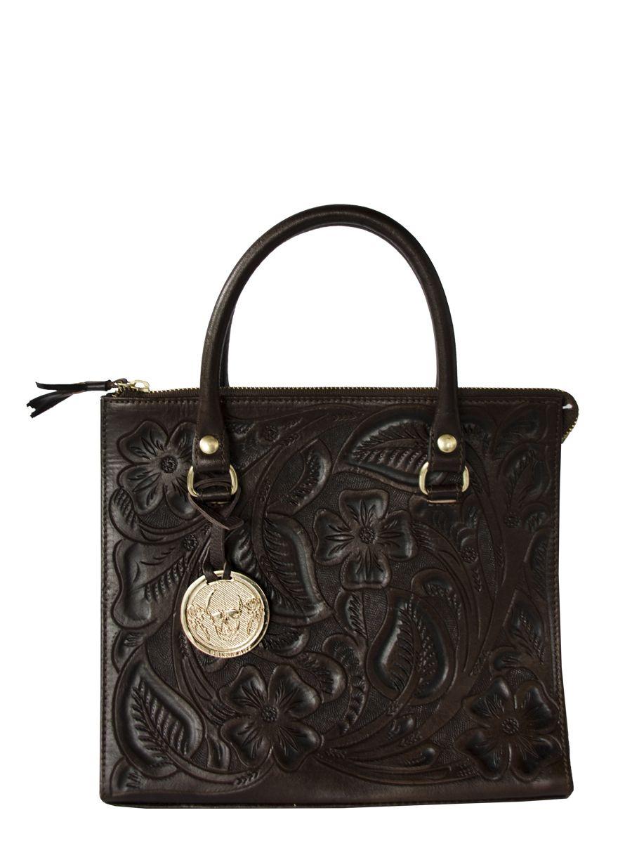 Brown Leather handmade chiseled handbag. 1 cell phone pocket, 1 inside zipper pocket, top zipper.