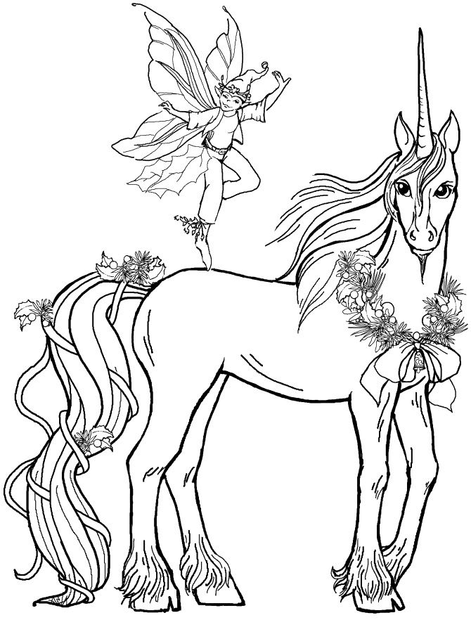 Pictures Fairy Boy With Unicorn Coloring Pages Unicorn