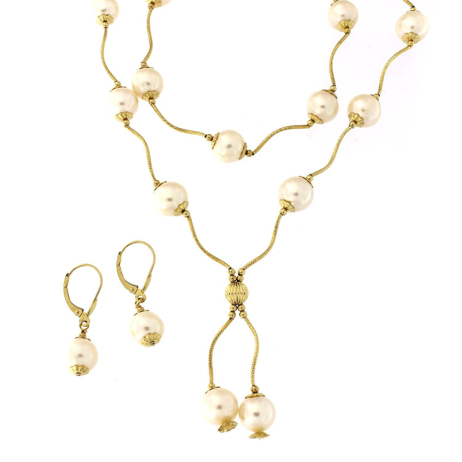 K yellow gold round white freshwater cultured pearls shell