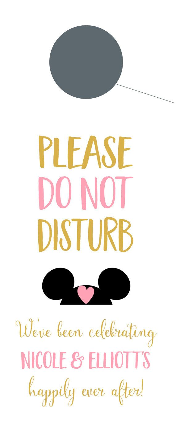 Do Not Disturb Door Hangers With Mickey Mouse Ears For Wedding