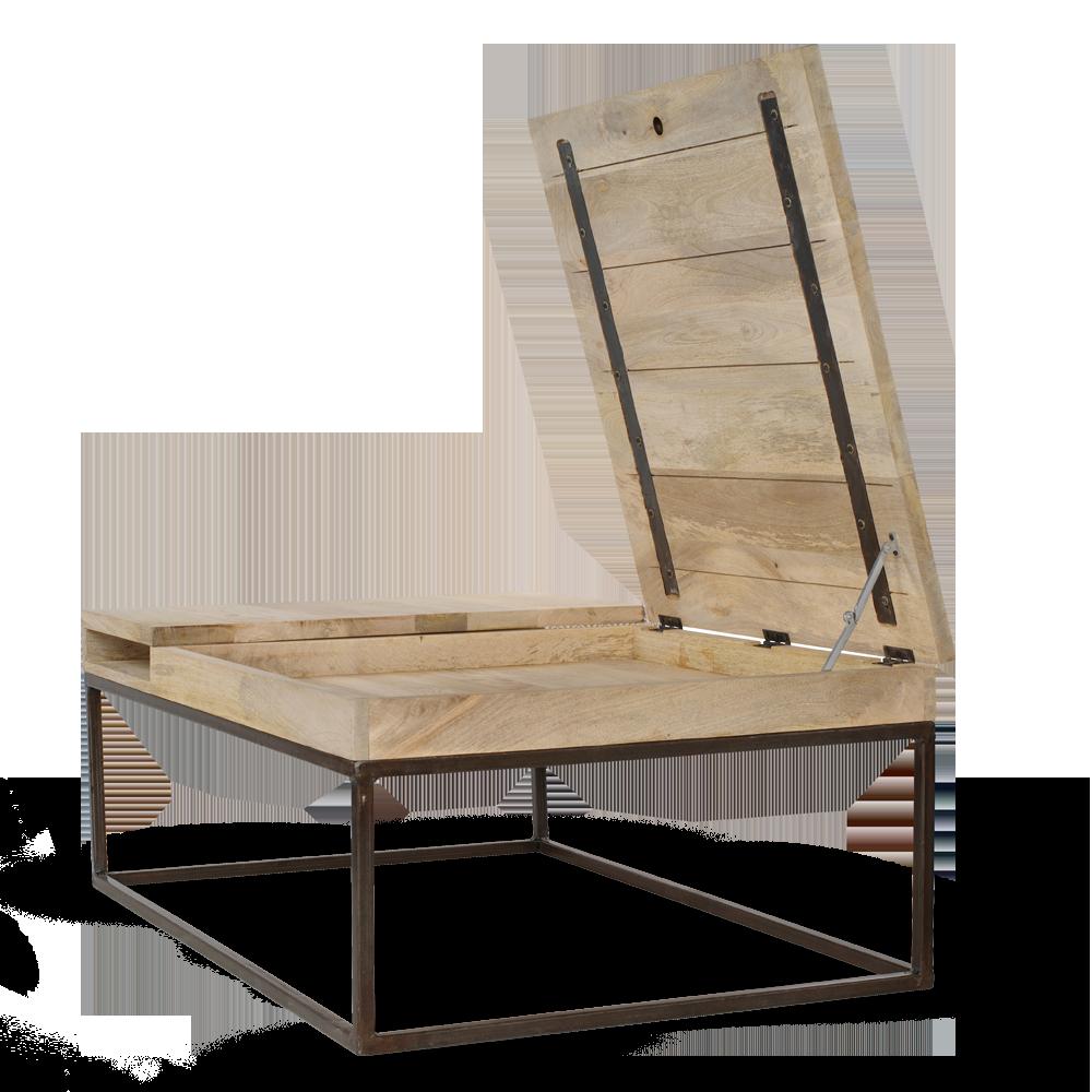Table basse en bois et m tal de chez guibox avec un for Table basse chez but