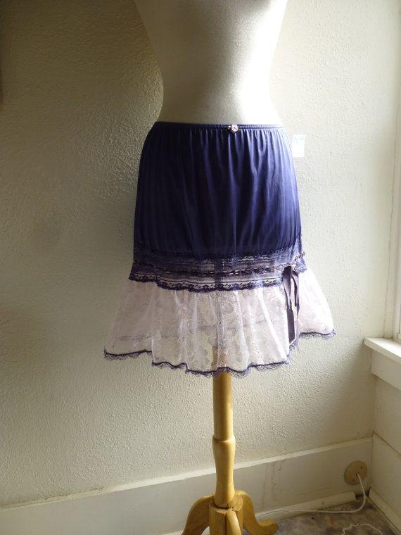 Ruffle Slip Skirt M/L Indigo Blue Glam Garb Handmade by glamgarb