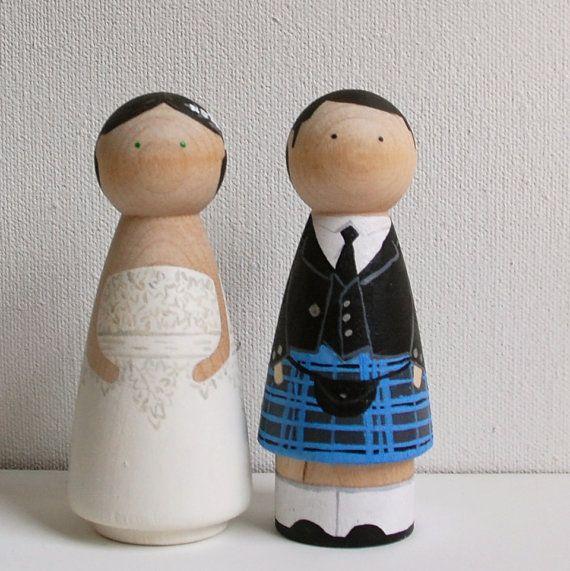 Custom Wedding Cake Toppers Scottish Peg Doll With Kilt By ArtXchic 6000
