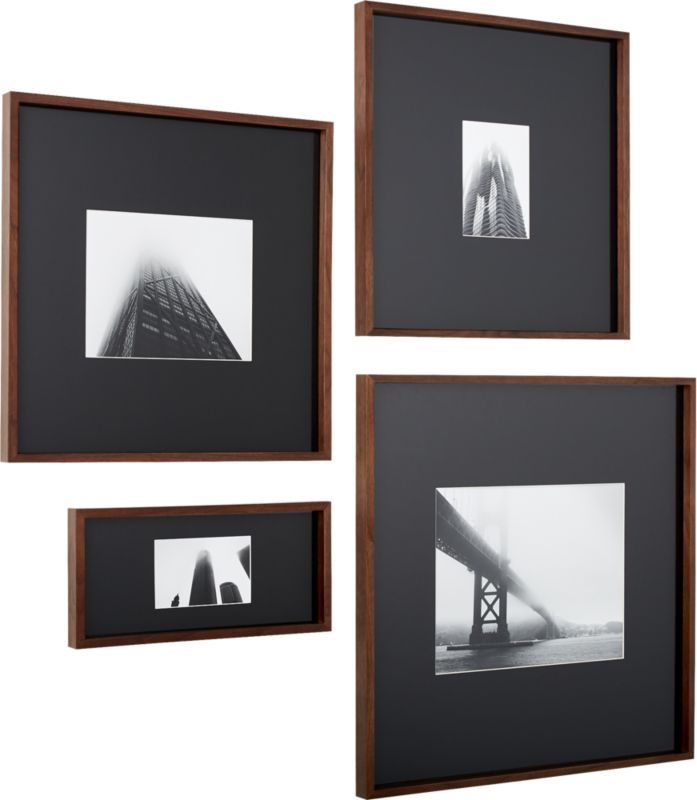 Gallery Walnut Frames With White Mats Cb2 Photo Frame Wall Photo Wall Display Picture Frames