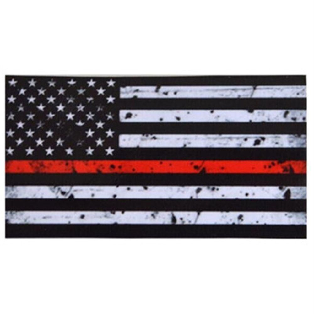 2 Pcs Thin Red Line American Flag Distressed Vinyl Usa Flag In