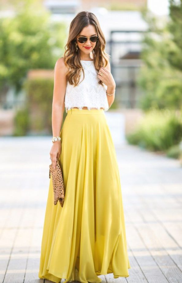 Bien connu Crop Top And Yellow Maxi Skirt 2017 Street Style | Fashion Looks  CH15