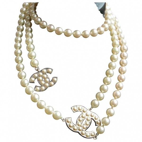 White Pearl Necklace CHANEL (14,575 MXN) ❤ liked on Polyvore featuring jewelry, necklaces, accessories, chanel, white jewelry, white pearl jewelry, white pearl necklace and pearl jewellery