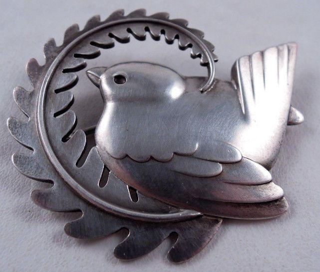 Georg Jensen sterling bird brooch