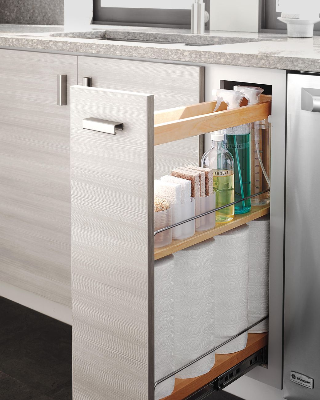 The easy access will help you get to spills and messes more quickly.(Pictured Weston cabinetry from Martha Stewart Living ... & Kitchen Storage Ideas for Busy Parents | Storage ideas Storage and ...