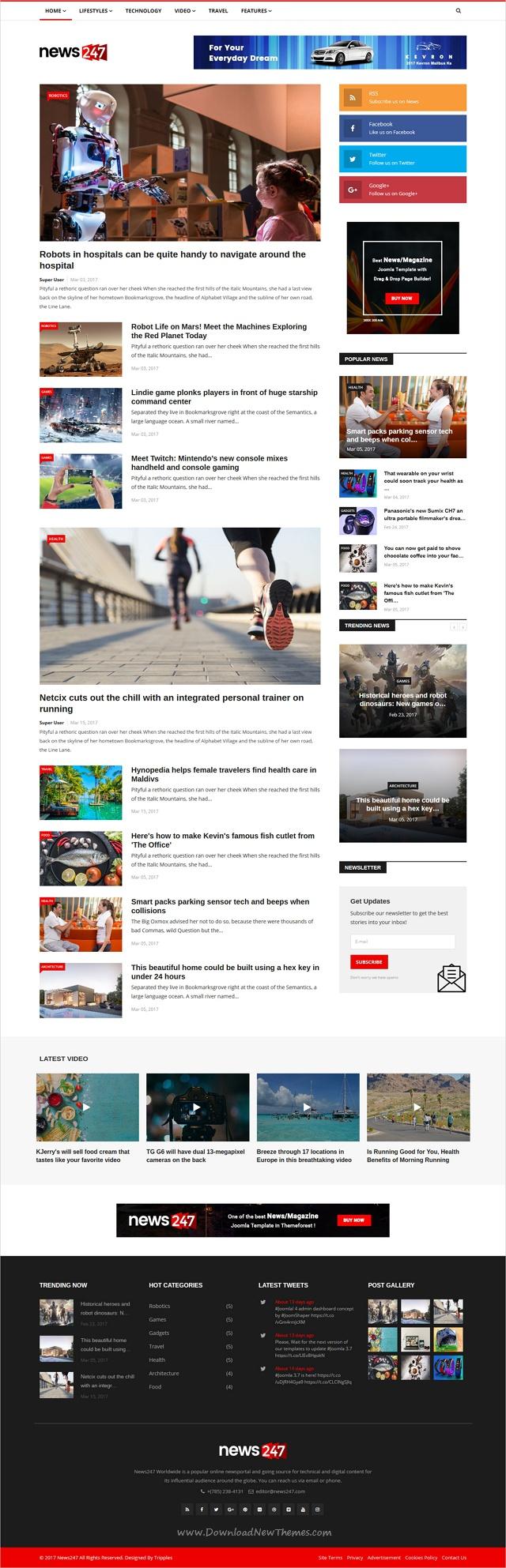 News247 Newsmagazine Newspaper Joomla Template Pinterest