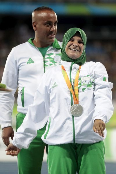 Mounia Gasmi of Algeria poses on the medals podium after the ceremony for the Women's Club Throw - F32 Final on Day 2 of the Rio 2016 Paralympic Games at the Olympic Stadium on September 9, 2016 in Rio de Janeiro, Brazil.