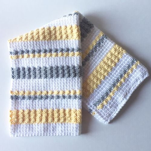 Crochet Gray & Yellow Bobble and Mesh Stitch Blanket - Free Pattern ...