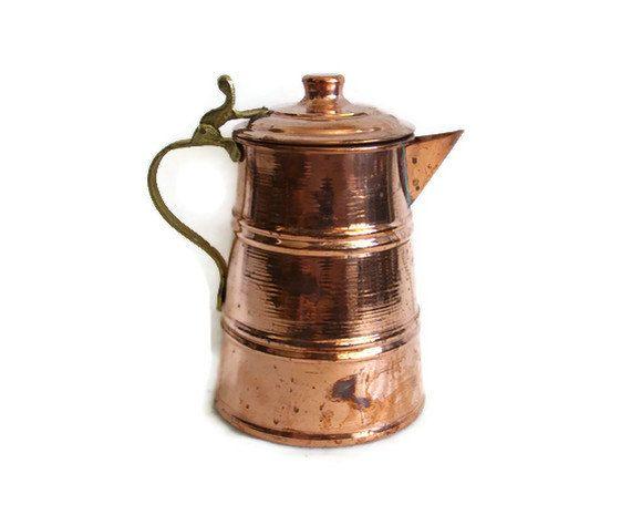 Vintage COPPER COFFEE POT Serving Pitcher Water Milk