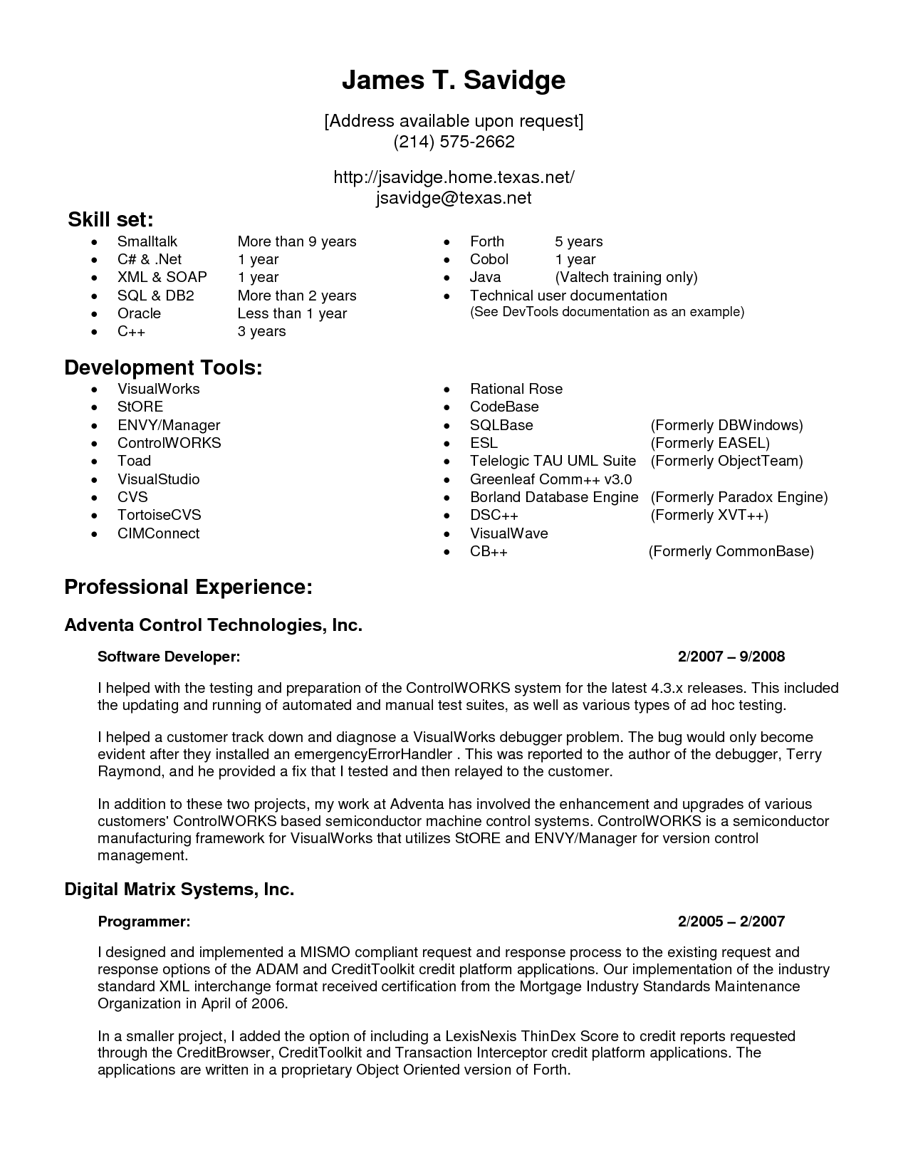 1 Year Experience Cv Template Cv Best Resume Format