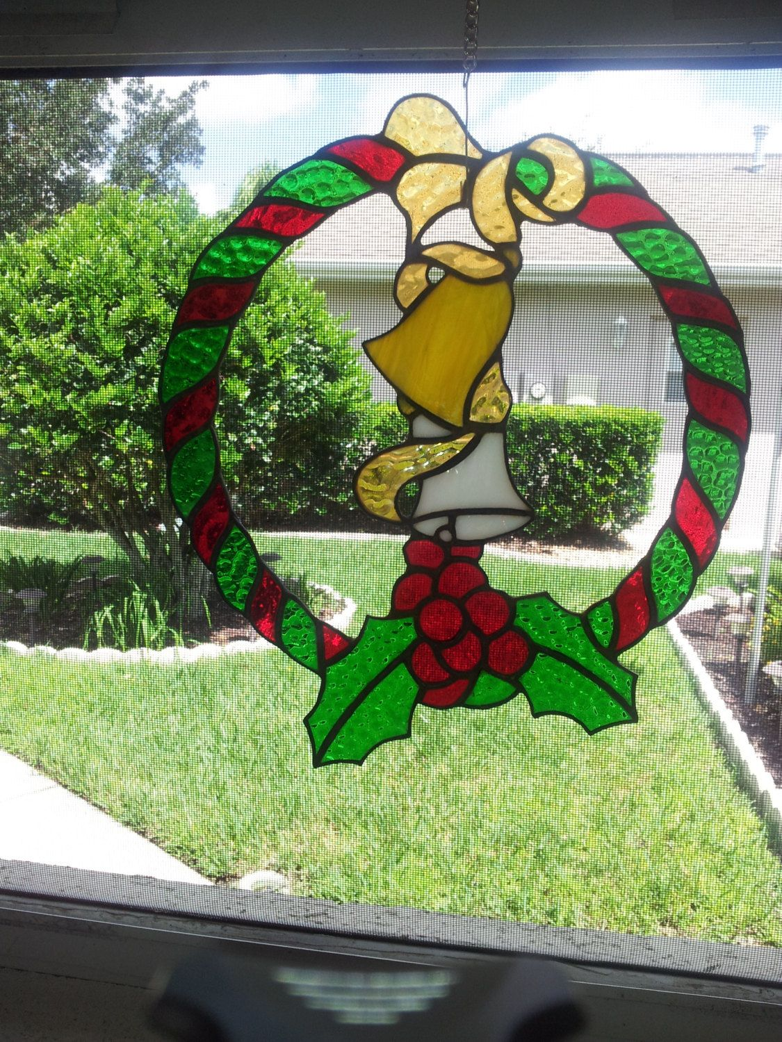 Stained Glass Holiday Wreath, Christmas Decorations