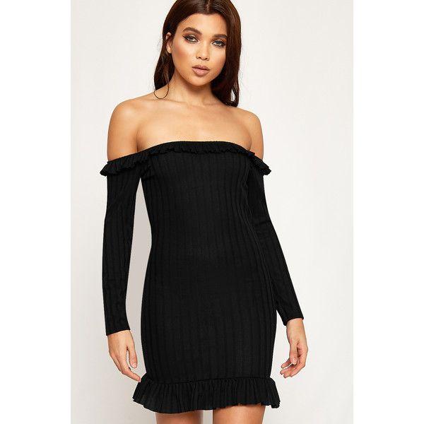 b5b439b6685 WearAll Bardot Frill Trim Ribbed Mini Dress (£22) ❤ liked on Polyvore  featuring