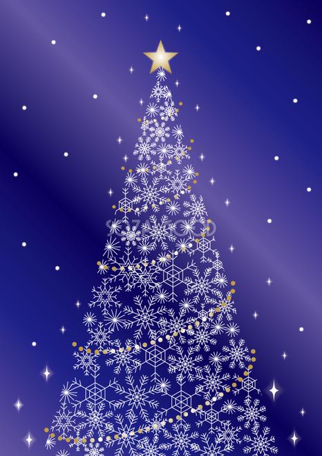 雪の結晶の美しいおしゃれクリスマスツリー背景イラスト無料フリー85135