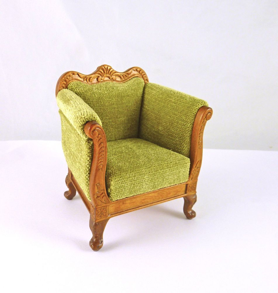 Details About Dollhouse Miniature Green Upholstered Deep Armchair 1177WN