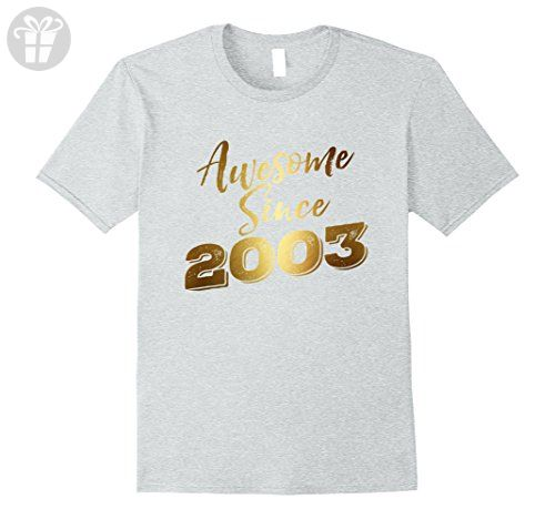 Mens Awesome Since Legends Born In 2003 Birthday 14 Years Old Large Heather  Grey - Birthday b1099363e