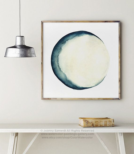 Moon Phases Watercolor Painting Blue Wall Decor, Abstract Full Moon Art  Print, New Crescent Luna Solar ...