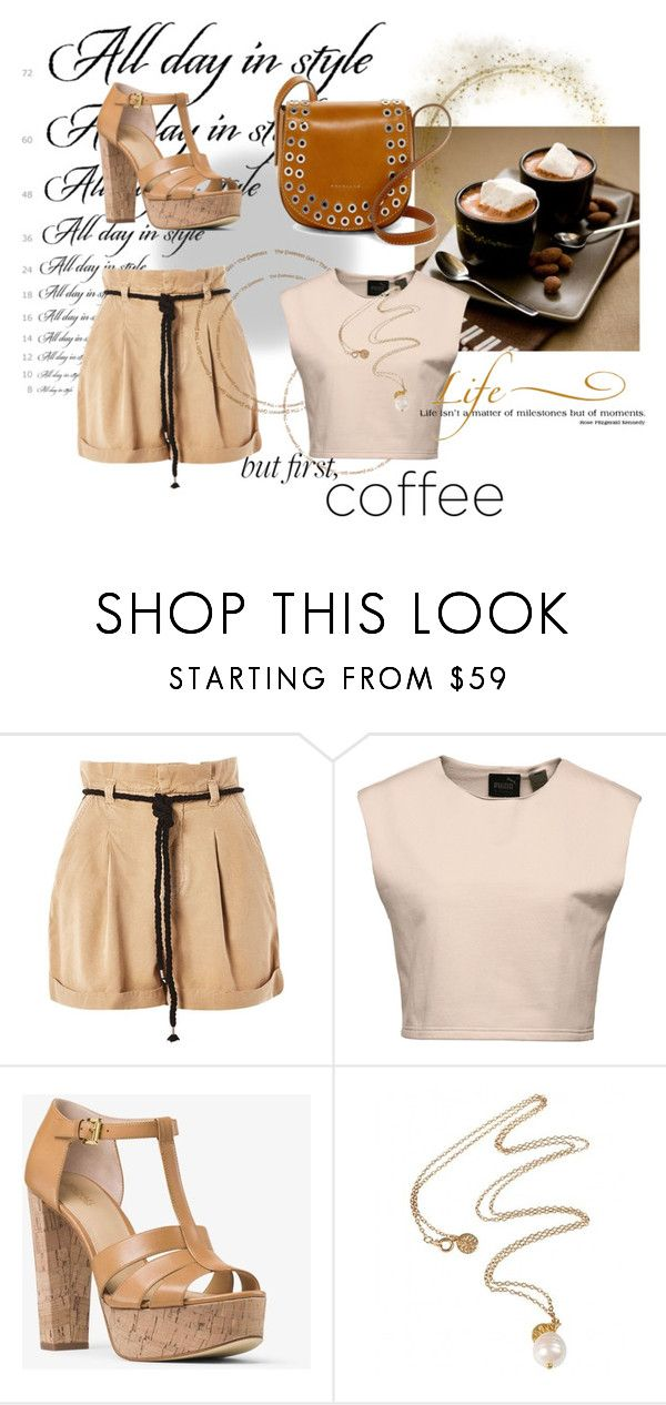 """""""But First, Coffee"""" by annazow ❤ liked on Polyvore featuring Topshop, Puma, MICHAEL Michael Kors, WALL and Frye"""