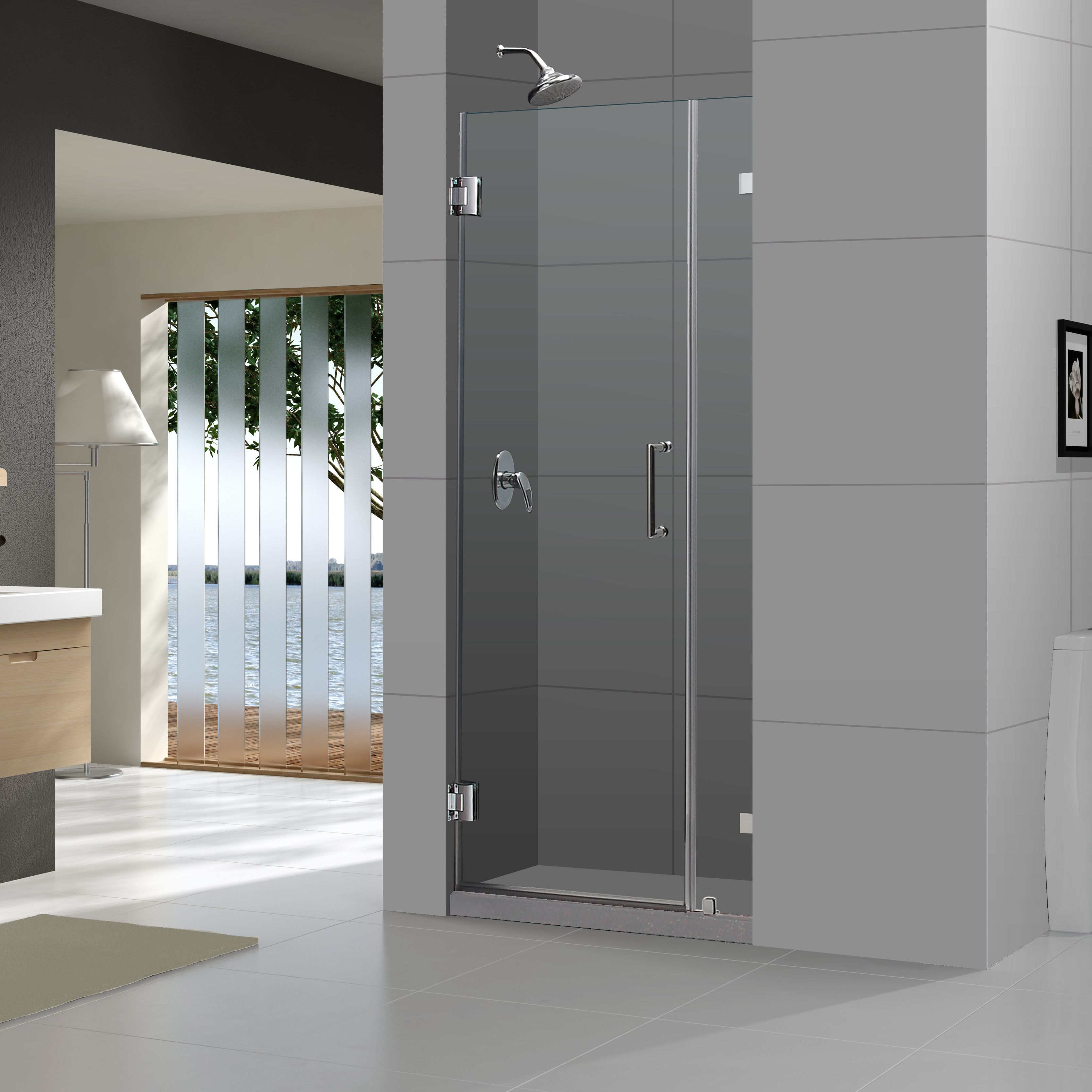 Unidoor Lux 48 X 72 Hinged Frameless Shower Door With Clearmax