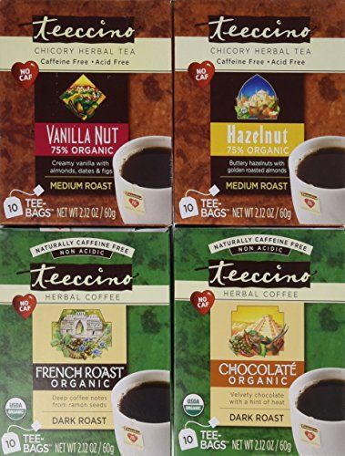 Teeccino Coffee Alternative Variety Pack - 10 Tee-Bags of each - Chocolate, French Roast, Hazelnut and Vanilla Nut - http://flowersnhoney.com/teeccino-coffee-alternative-variety-pack-10-tee-bags-of-each-chocolate-french-roast-hazelnut-and-vanilla-nut/